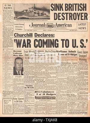 1941 front page New York   Journal American Battle of the Duisburg Convoy and HMS Cossack sunk - Stock Photo