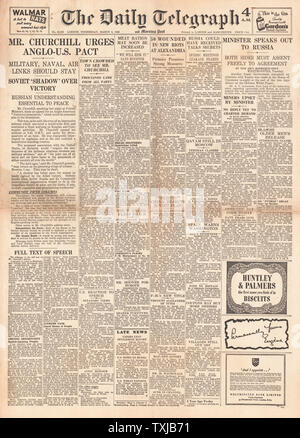 1946 Daily Telegraph newspaper front page Churchill's (Iron Curtain) Speech in Fulton - Stock Photo