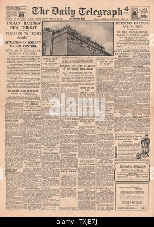 1946 Daily Telegraph newspaper front page Riots at Aldershot Military Prison - Stock Photo