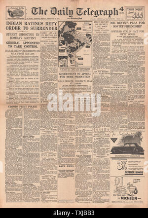 1946 Daily Telegraph newspaper front page Bombay Riots - Stock Photo