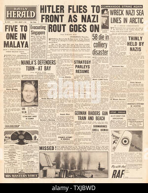 1942 front page Daily Herald Hitler flies to Russian Front, Battle for Manila,Mining Disaster at Sneyd Colliery and  British Commandos raid the Lofoten Islands - Stock Photo