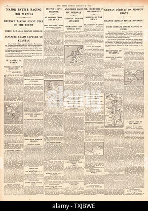 1942 page 4 The Times Hitler flies to Russian Front, Battle for Manila, Winston Churchill in Washington and  British Commandos raid the Lofoten Islands - Stock Photo