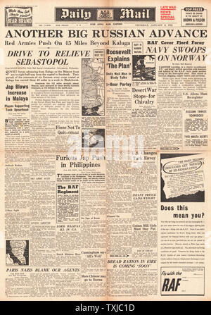 1942 front page Daily Mail Russian advance on Eastern Front - Stock Photo