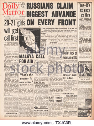 1942 front page  Daily Mirror Russians advance on every front, HMS Galatea subk by German submarine U-557 and Battle for Malaya - Stock Photo