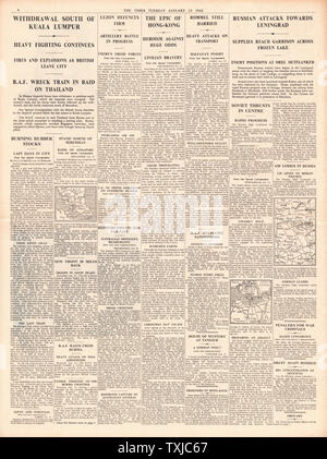 1942 page 4  The Times Allied Forces Retreat from Kuala Lumpur, the fall of Hong Kong and Battle for Leningrad - Stock Photo