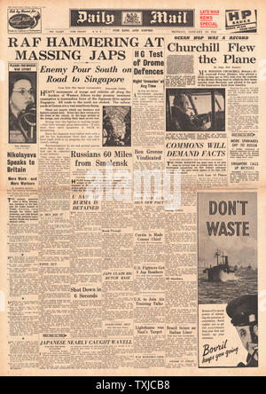 1942 front page  Daily Mail RAF attack Japanese Forces in Malaya and Churchill pilots flying boat from Bermuda - Stock Photo