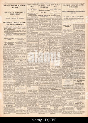 1942 page 4 The Times Russian Army advance on Smolensk and Churchill pilots flying boat from Bermuda - Stock Photo