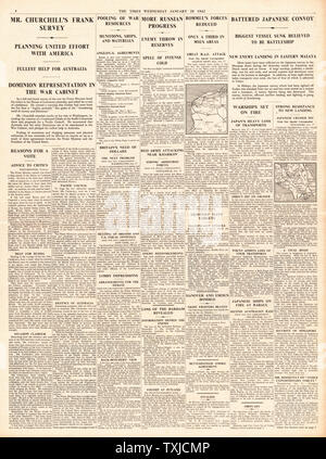 1942 page 4 The Times Churchill pleadges all aid to Australia - Stock Photo
