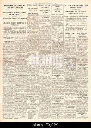 1942 page 4 The Times Vote of confidence for British government, Battle for Singapore, Axis forces recapture Benghazi and Russian Army advance on Kharkov - Stock Photo