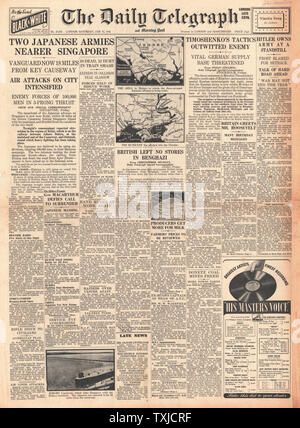 1942 front page Daily Telegraph Japanese Army advance on Singapore - Stock Photo