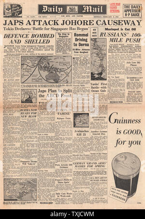1942 front page Daily Mail Battle for Singapore - Stock Photo