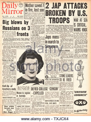 1942 front page Daily Mirror Battle for the Philippines - Stock Photo