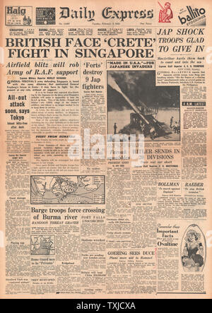 1942 front page  Daily Express Battle for Singapore - Stock Photo