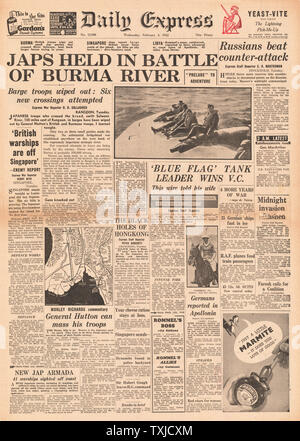 1942 front page Daily Express Japanese Advance held in Burma - Stock Photo