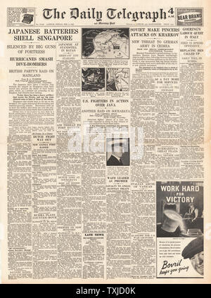 1942 front page Daily Telegraph Battle for Singapore, Java and Kharkov - Stock Photo