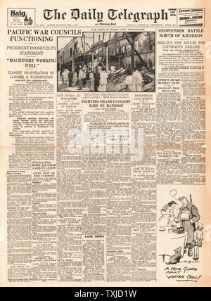 1942 front page  Daily Telegraph Pacific War Councils - Stock Photo