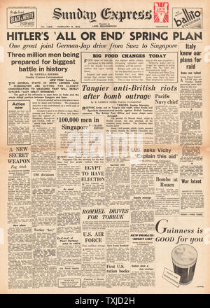 1942 front page Sunday Express Hitlers Spring Offensive Plan - Stock Photo