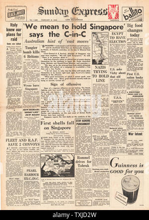 1942 front page  Sunday Express General Percival says 'We will hold Singapore' - Stock Photo