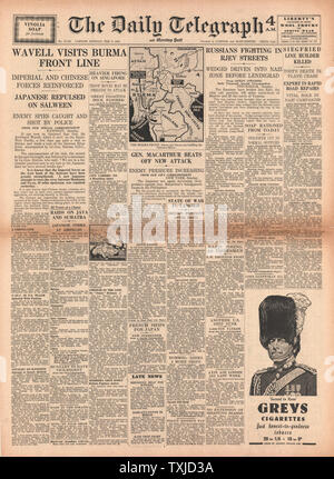 1942 front page Daily Telegraph Battle for Burma - Stock Photo