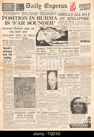 1942 front page Daily Express Battle for Burma and Singapore - Stock Photo