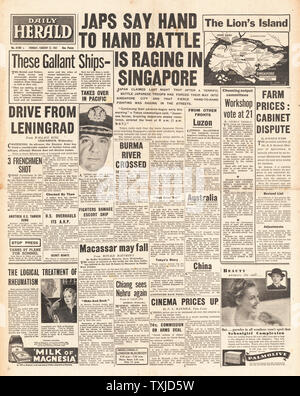 1942 front page Daily Herald Battle for Singapore and siege of Leningrad - Stock Photo