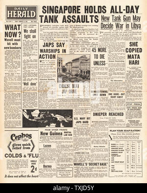 1942 front page Daily Herald Battle of Singapore - Stock Photo
