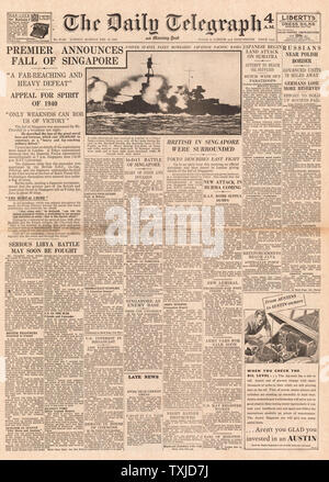 1942 front page  Daily Telegraph Winston Churchill announces the fall of Singapore to Japanese Forces - Stock Photo