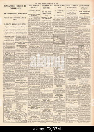 1942 page 4 The Times Winston Churchill announces the fall of Singapore and Japanese Forces Invade Sumatra - Stock Photo