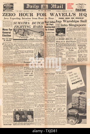 1942 front page  Daily Mail Battle for Sumatra and Japanese Warships sail into Singapore - Stock Photo
