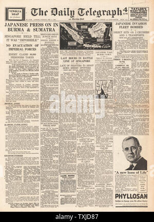 1942 front page Daily Telegraph Japanese Forces advance in Burma and Sumatra - Stock Photo