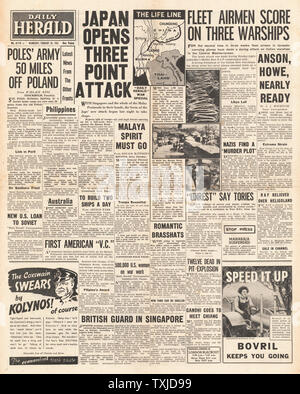 1942 front page  Daily Herald Battle for Burma and Italian Warships attacked in Mediterranean - Stock Photo