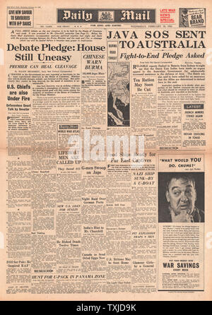 1942 front page  Daily Mail Battle for Java and tension in House of Commons - Stock Photo
