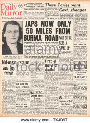1942 front page  Daily Mirror Battle for Burma - Stock Photo