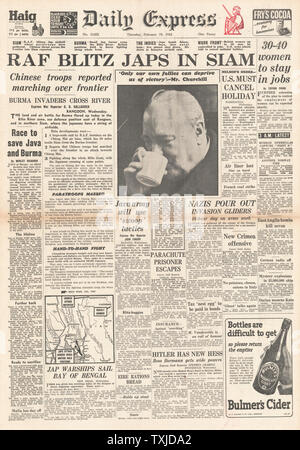 1942 front page Daily Express RAF Bombing raids in Thailand - Stock Photo