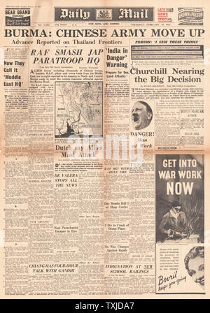 1942 front page Daily Mail Allied and Chinese Forces mass in Burma - Stock Photo