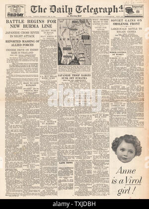 1942 front page Daily Telegraph Battle for Burma and Sumatra - Stock Photo