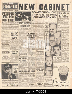 1942 front page  Daily Herald British Government Cabinet re-shuffle and Battle for Burma - Stock Photo