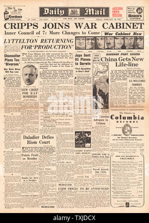 1942 front page  Daily Mail British Government Cabinet re-shuffle and Battle for Burma - Stock Photo