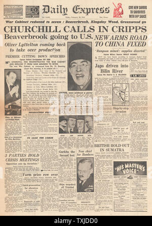 1942 front page  Daily Express British Government Cabinet re-shuffle and Battle for Burma - Stock Photo