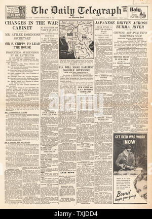 1942 front page  Daily Telegraph British Government Cabinet re-shuffle and Battle for Burma - Stock Photo