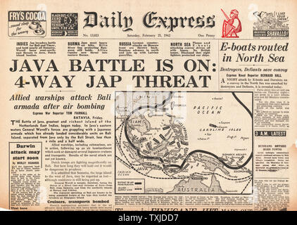 1942 front page Daily Express Battle for Java - Stock Photo