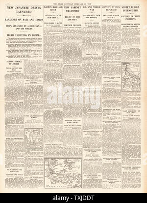 1942 page 4 The Times Battle for Java and RAF attack German E-Boats in English Channel - Stock Photo