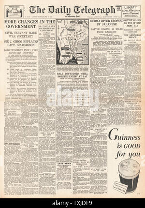 1942 front page  Daily Telegraph New Government Appointments and Battle for Burma - Stock Photo
