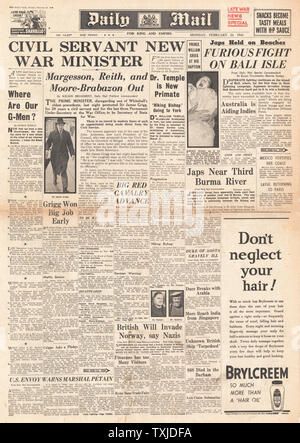 1942 front page  Daily Mail New Government Appointments and Battle for Burma - Stock Photo