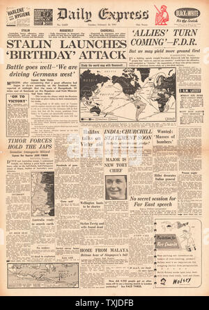 1942 front page  Daily Express Russian Army launch drive on Smolensk - Stock Photo
