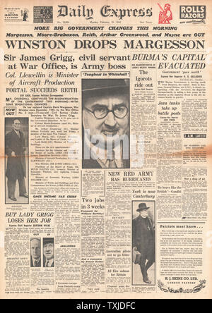 1942 front page  Daily Express New Government Appointments and Battle for Burma - Stock Photo