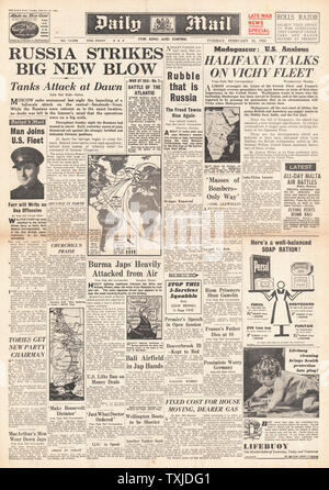 1942 front page  Daily Mail Russian Army launch drive on Smolensk - Stock Photo