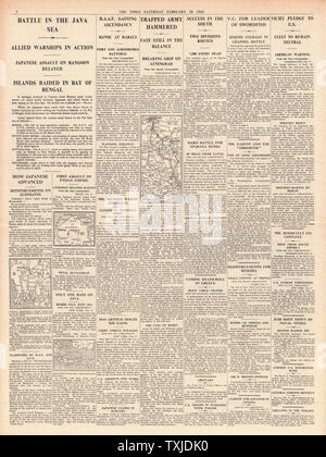 1942 page 4  The Times Battle for Java and Burma - Stock Photo