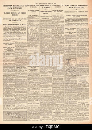 1942 page 4 The Times Battle for Java and Crimea and British Paratroopers raid Northern France - Stock Photo