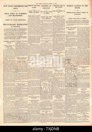 1942 page 4 The Times Battle for Java and General Archibald Wavell transferred to India - Stock Photo